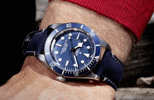 Tudor Black Bay 58 navy blue dial on wrist