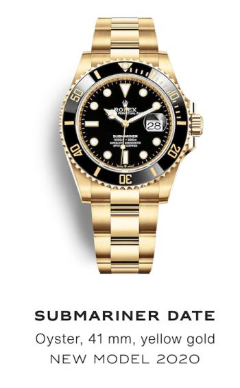 Black Dial Rolex Submariner with Black Bezel on a Gold Bracelet