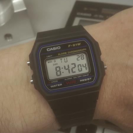Casio F-91W on wrist