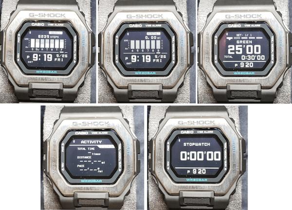 G-SHOCK GBX-100 fitness screens