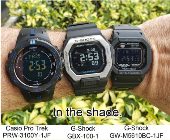 G-SHOCK display comparison