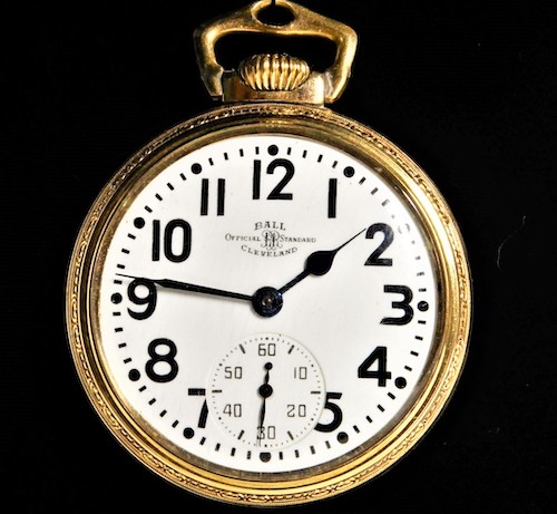 A lever set pocket watch - Ball Brotherhood of Trainmen pocket watch