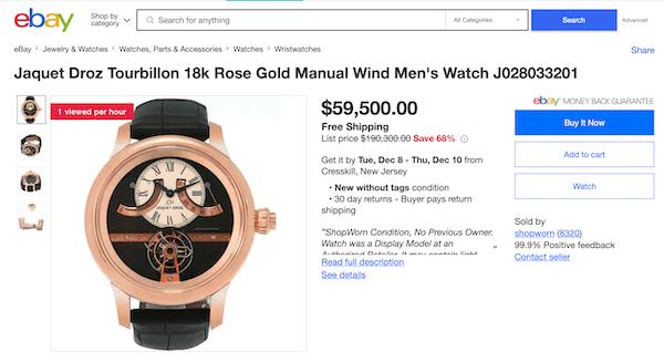 eBay Shopworn Depreciation