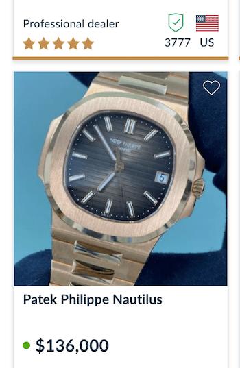 Patek Philippe Nautilus proce chrono24 2