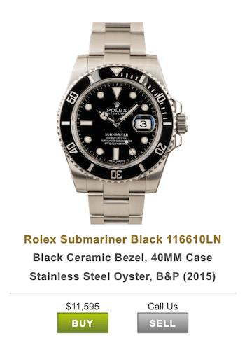 Bob's watches Submariner