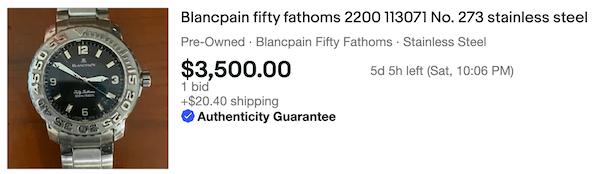 eBay watch sales - Blancpain dive watch