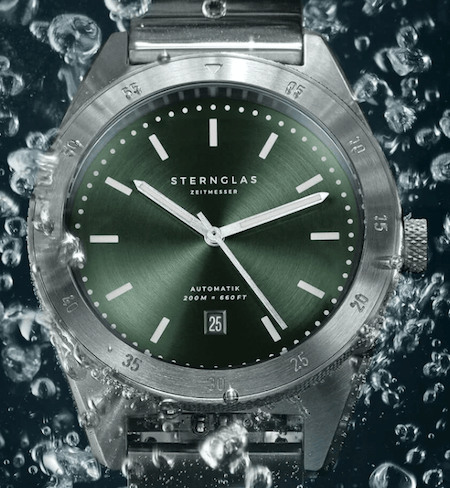 Close up dive watch dial