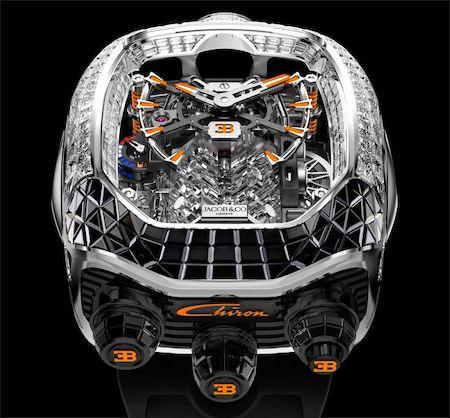 Bugatti Chiron Tourbillon Baguette Black and Orange Sapphires top