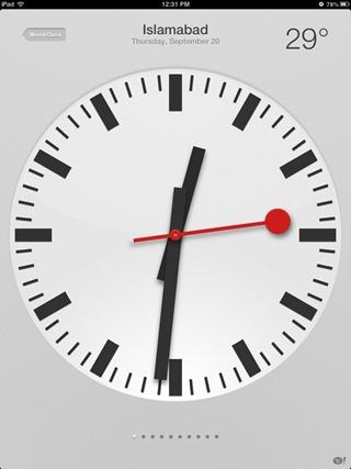 Apple iPad clock