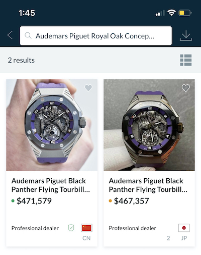 Black Panther auction chrono.24 price