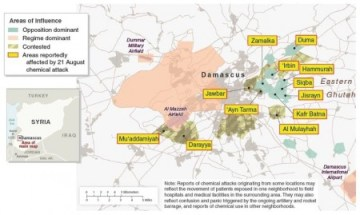 Syria - Damascus Areas of Influence and Areas Reportedly Affected by 21 August Chemical Attack