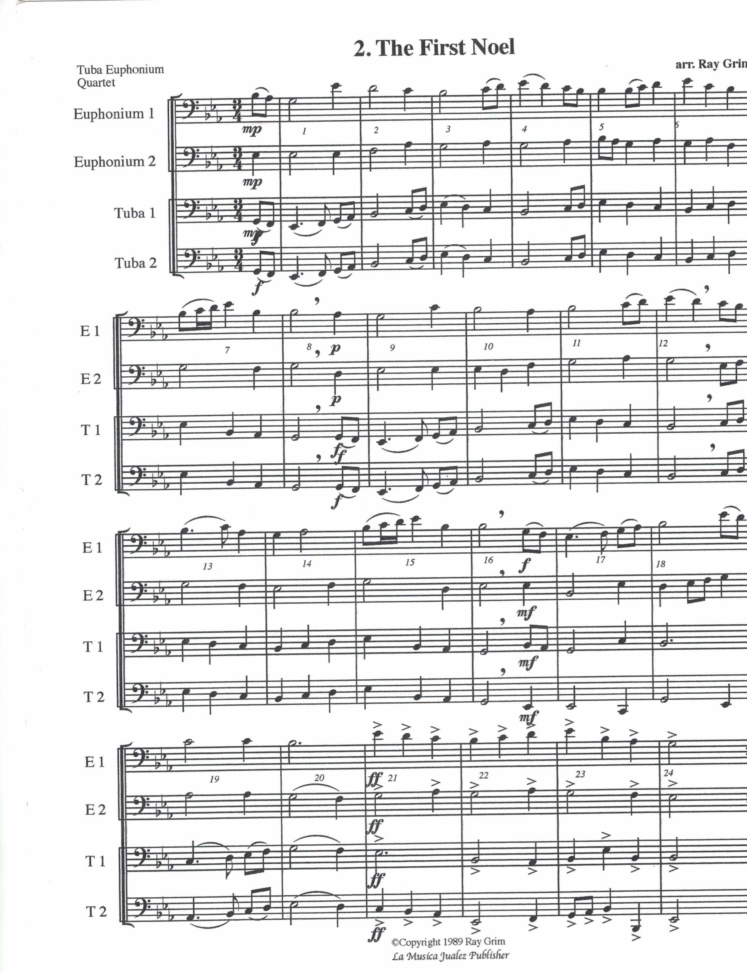 Free Christmas Music.Print Tubameister Christmas Music Bass Clef Free The