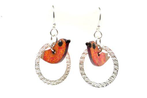 Circle Bird Earrings
