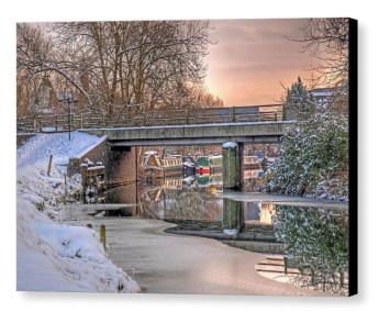 Narrow Boats Under The Bridge - Photograph on Canvas