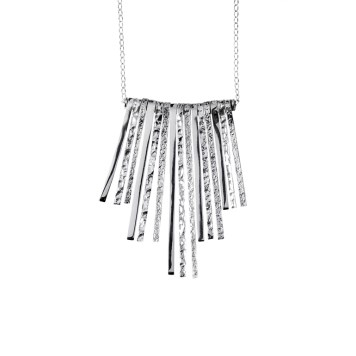 CL165 Polished and Textured Symmetrical Necklace