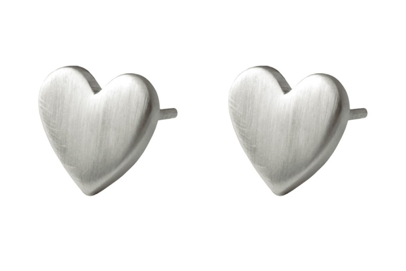 Flat Heart Studs Satin