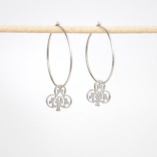 Handmade Sterling Silver - Ace of Club Earrings