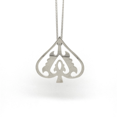 Handmade Ace of Spade Sterling Silver Necklace