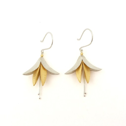 Fuchsia Earrings - Silver & 18ct Gold Plate