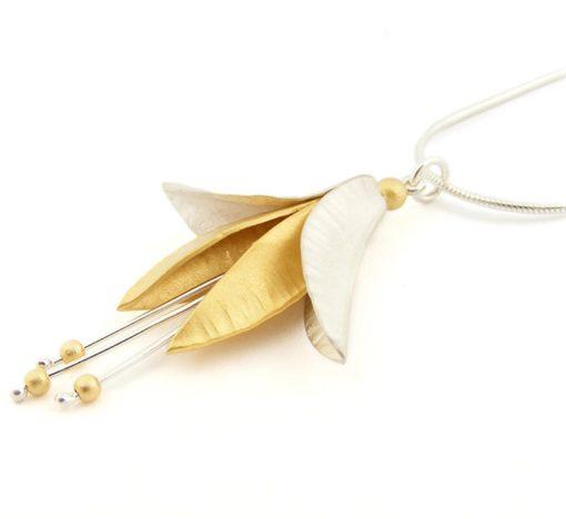 Silver Gold Fuchsia Pendant