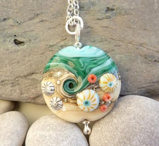 Handmade Sand & Sea Lentil Glass Necklace