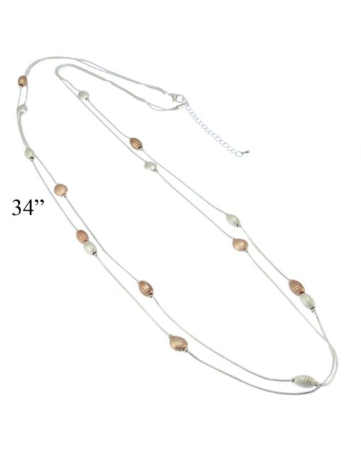 Silver & Rose Gold plated long Necklace