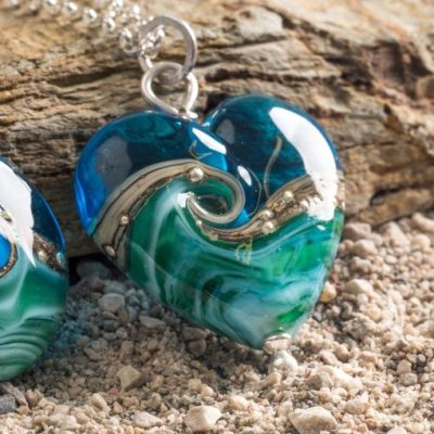 Deep Blue Sea Heart Pendant