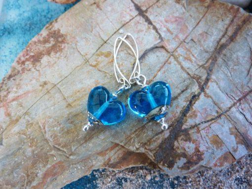 Deep Blue Sea Heart Earrings