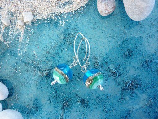 Deep Blue Sea Round Earrings