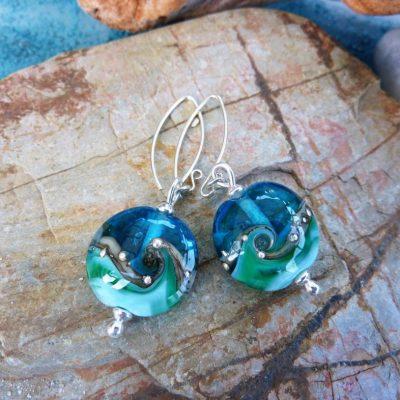 Handmade Deep Blue Sea Lentil Glass Earrings