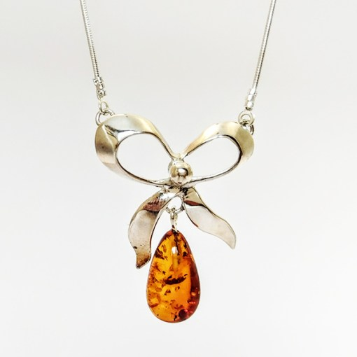 Autumn inspired Amber Bow Necklace