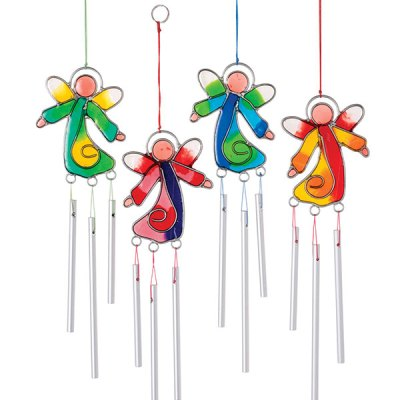 Fun and quirky angel light catcher with mini chimes. Each wire mould is made by hand and hammered flat, resin is then poured in, allowed to set and then each piece is hand finished by decorating with beads, producing a beautiful finished article.