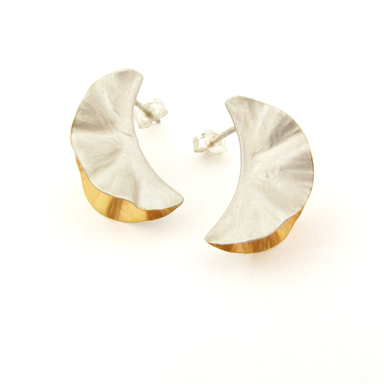 Oyster Studs – Silver & 18ct Gold Plate