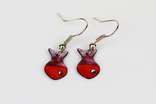 Handmade enamel fish earrings