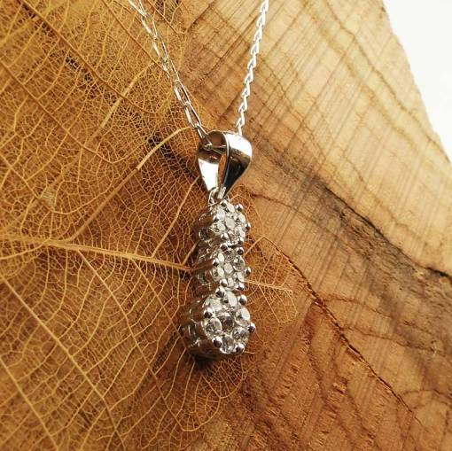 Silver & Cubic Zirconia Flower Necklace