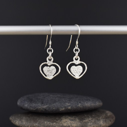 Silver Two Hearts Earrings