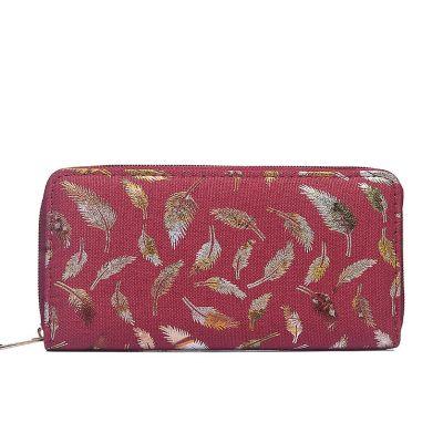 Red metallic print canvas purse