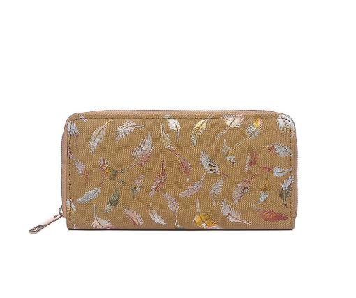 Tan metallic print canvas purse