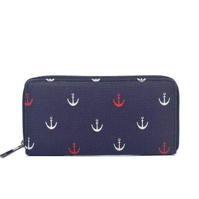 Anchor print canvas purse