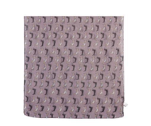 Purple sausage dog print long scarf