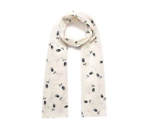 Cream rose print long scarf