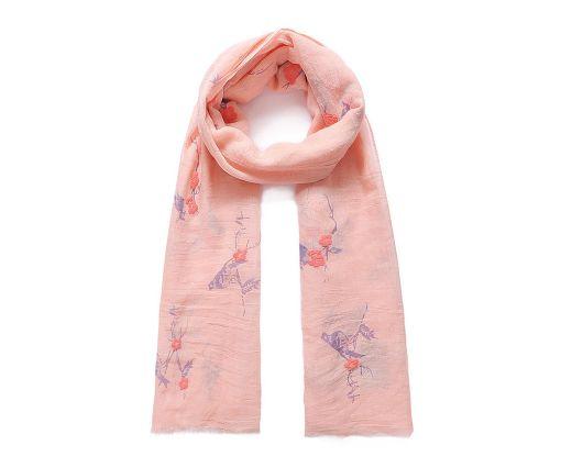 Coral bird print long scarf