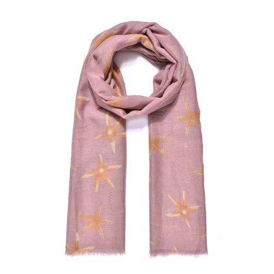 Orange/pink starfish print long scarf