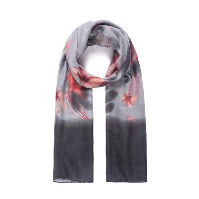 Grey floral print scarf