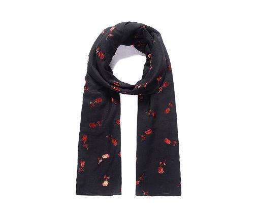 Black rose metallic print scarf