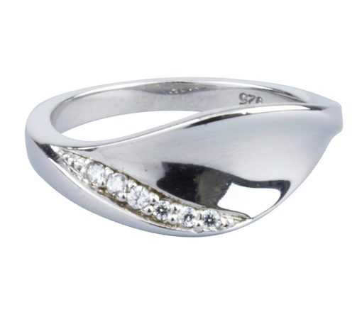 Sterling Silver Cubic Zirconia Leaf Ring
