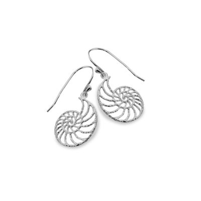 Handmade Sterling Silver Ammonite Shell Earrings