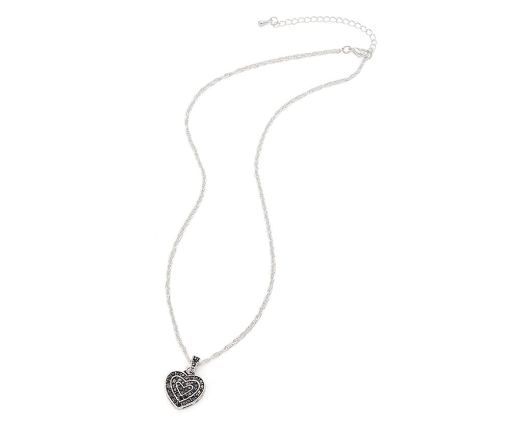 Silver vintage heart necklace