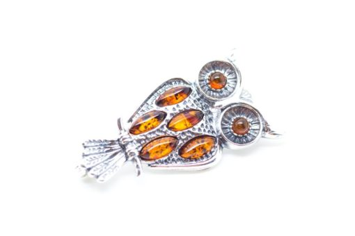 Baltic Amber & Sterling Silver Owl brooch