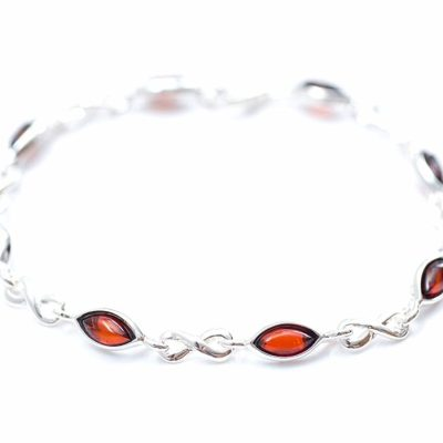 Cherry Baltic Amber & Sterling Silver Infinity Bracelet